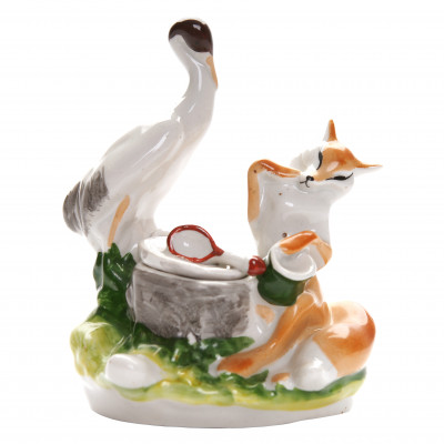 "Porcelain inkwell ""Fox and Crane"""