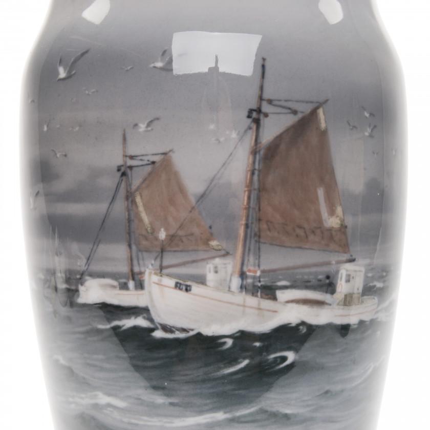 """Large porcelain vase """"Fishing boats south of Samsø"""""""