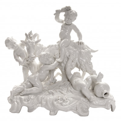 "Porcelain figure ""Putti with a goat"""