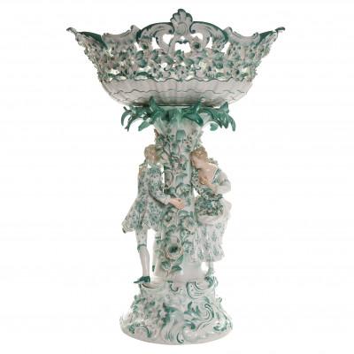 Porcelain flower-encrusted figural centerpiec...