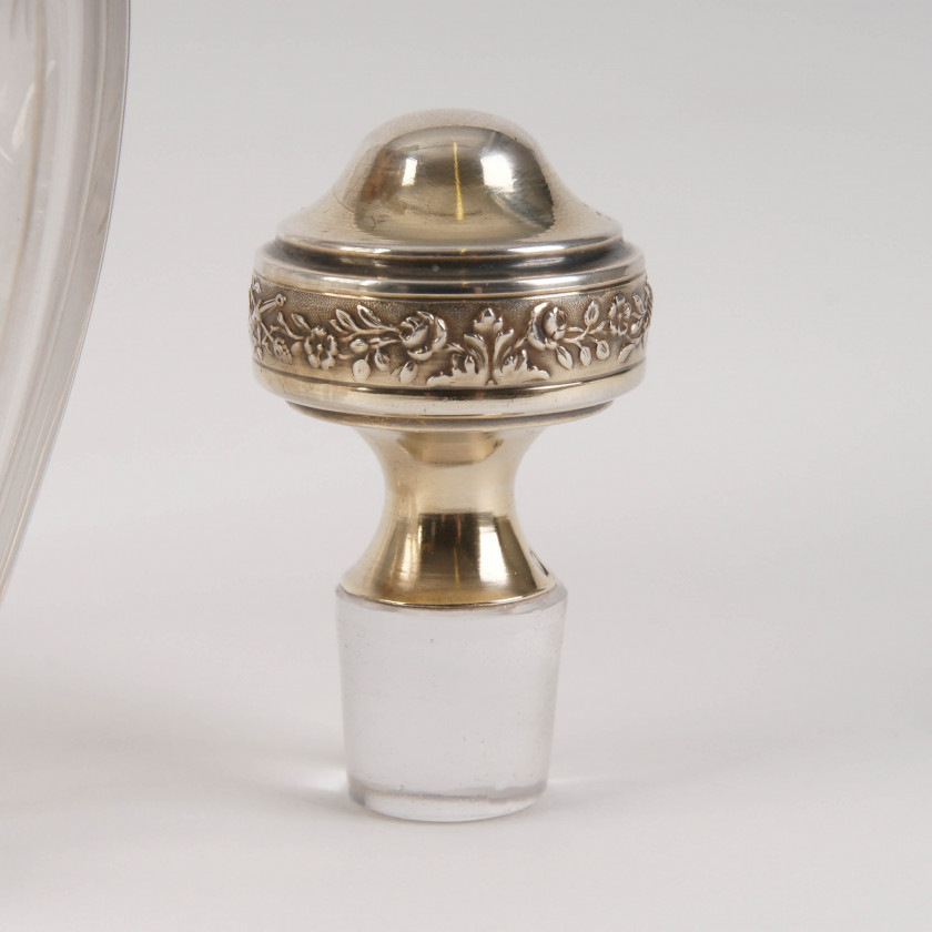 Silver-mounted glass liqueur set