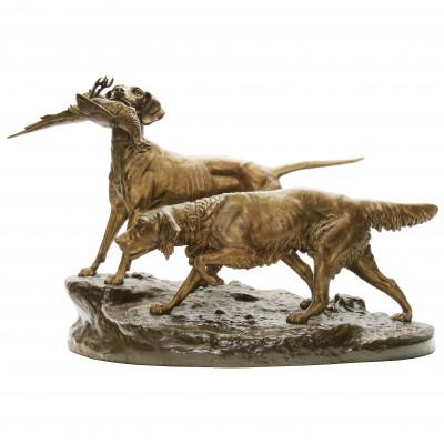 Liela divu medību suņu kompozīcija
