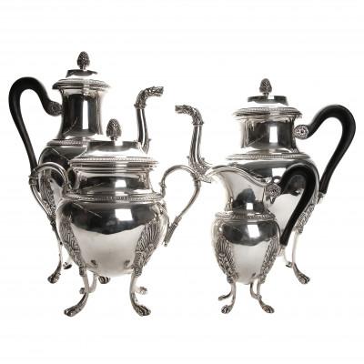 Silver four-piece tea and coffee set