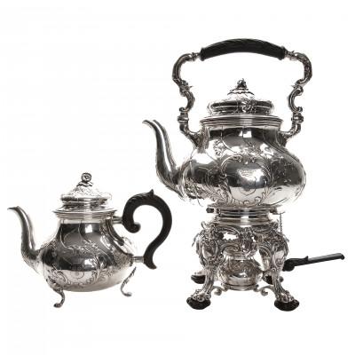 Silver two-piece tea set