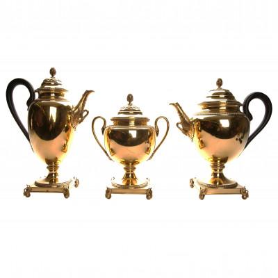Silver three-piece tea and coffee set