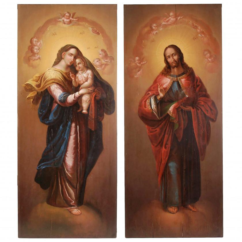 """Две алтарные иконы """"Вседержитель и Богородица"""""""