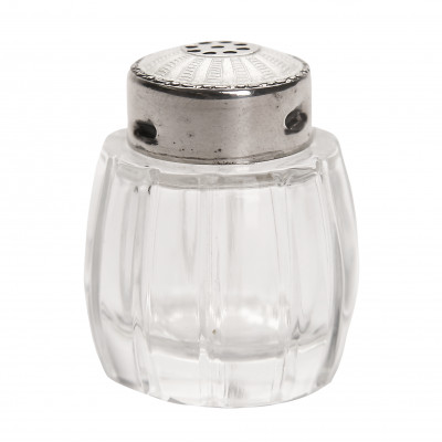 Glass salt shaker with silver