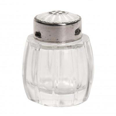 Стеклянная солонка с серебром
