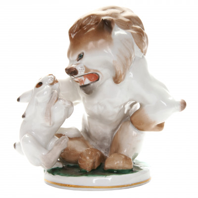 "Porcelain figure ""Lion and hare"""