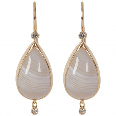 Gold earrings with diamonds and agates