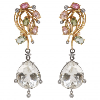 Gold earrings with diamonds, tourmalines and...