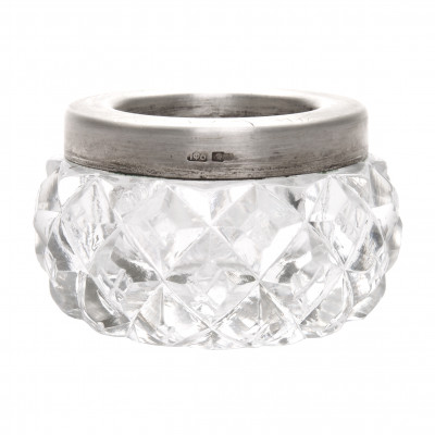 Crystal salt cellar with silver