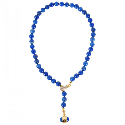 Lapis lazuli necklace with gold and diamonds