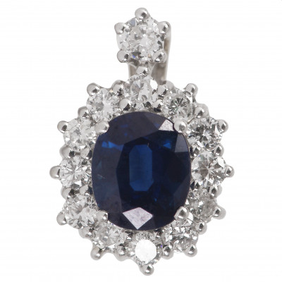 Gold pendant with sapphire and diamonds