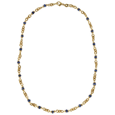 Gold necklace with sapphires