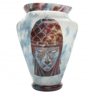 Glass vase in cameo technique