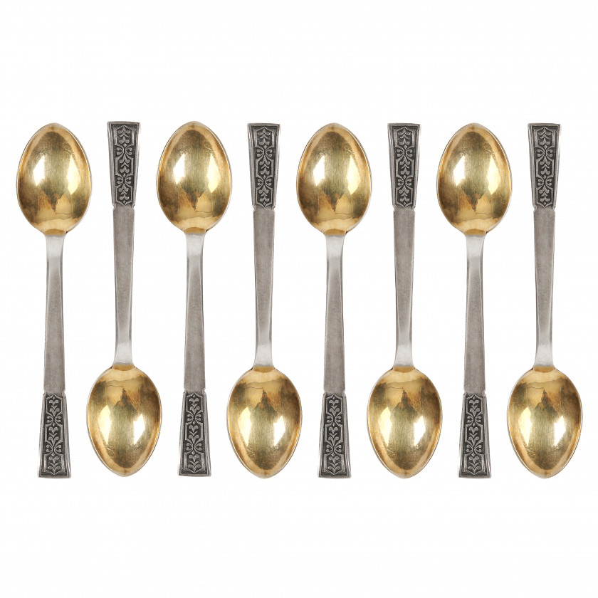 Set of silver coffee spoons, 8 pcs.