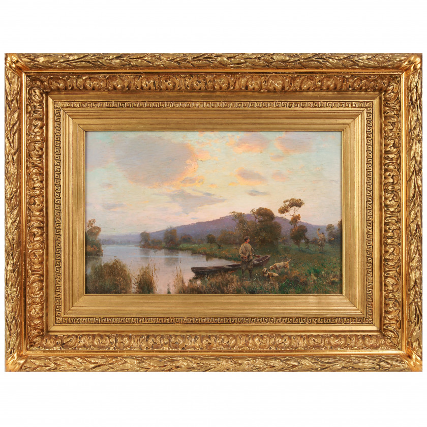 """Painting """"Hunters by the lake"""""""