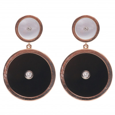 Gold earrings with agate, mother of pearl and...