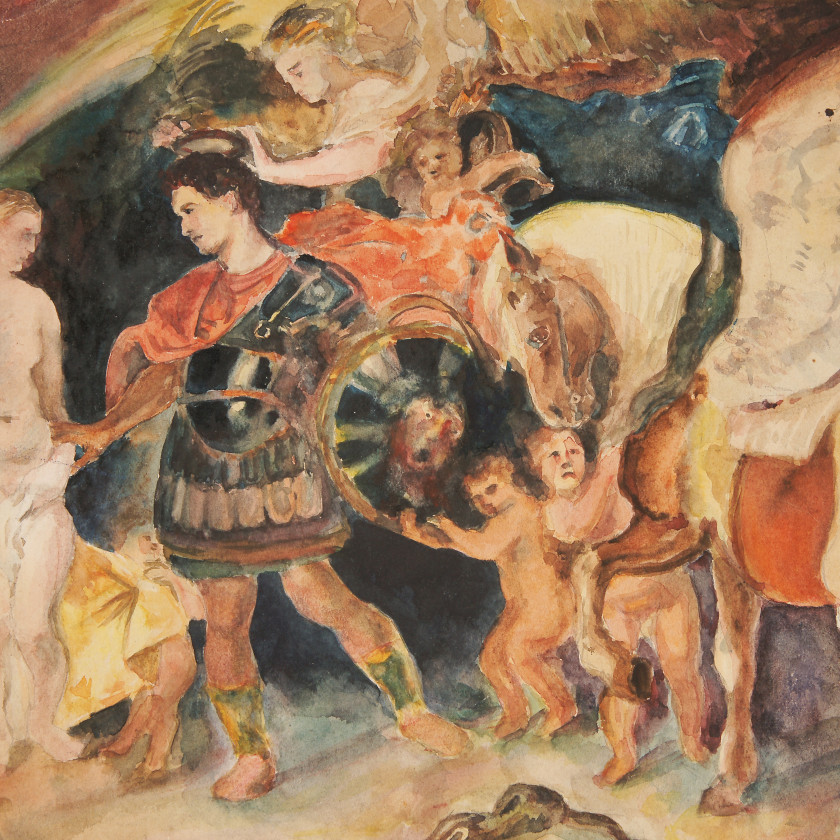 """Watercolor based on the original painting by Rubens """"Perseus and Andromeda"""""""