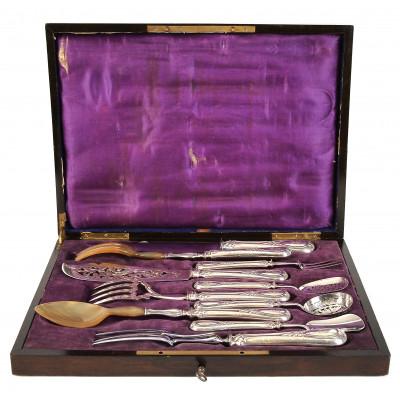 Silver ten-piece serving set