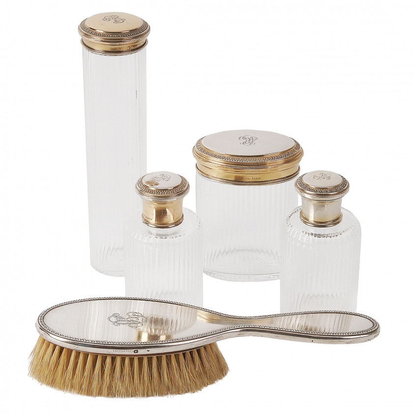 Silver and cut-glass toilet set