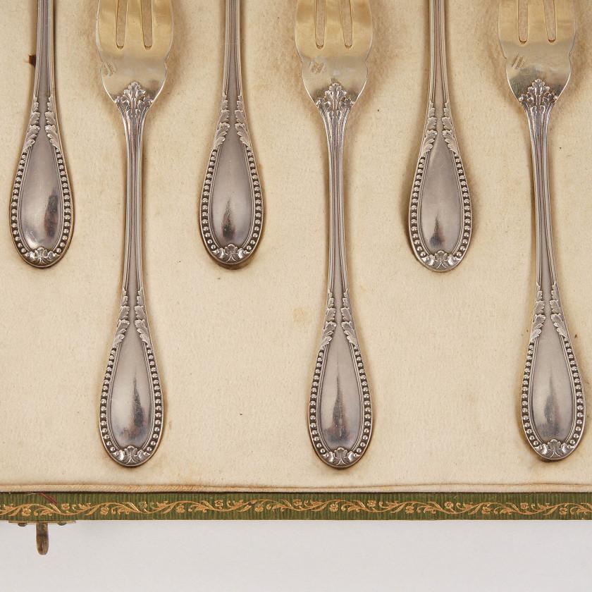 Silver dessert forks set, 12 pcs.