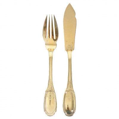 Silver 24 pieces fish flatware set