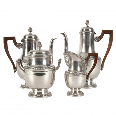 Серебряный чайно-кофейный сервиз из четырех п...