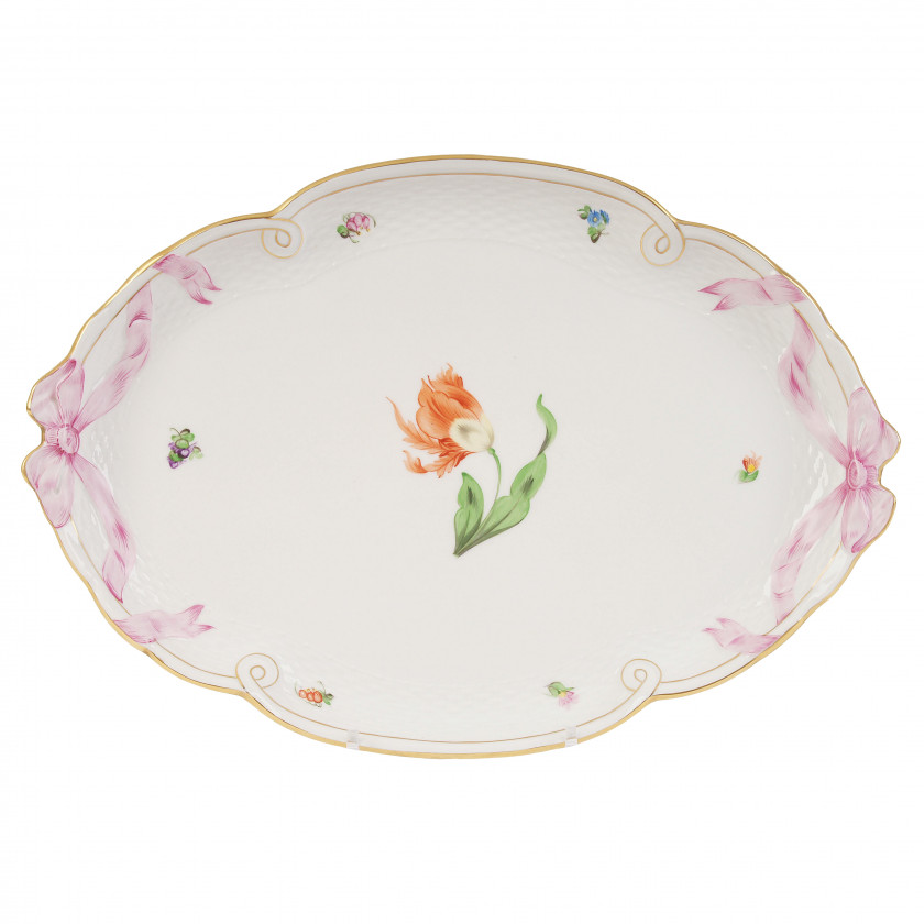 Large porcelain tray with flowers