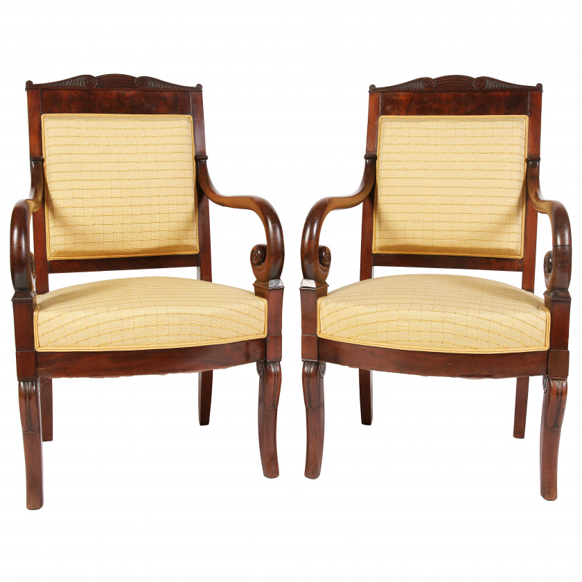 A pair of empire style armchairs