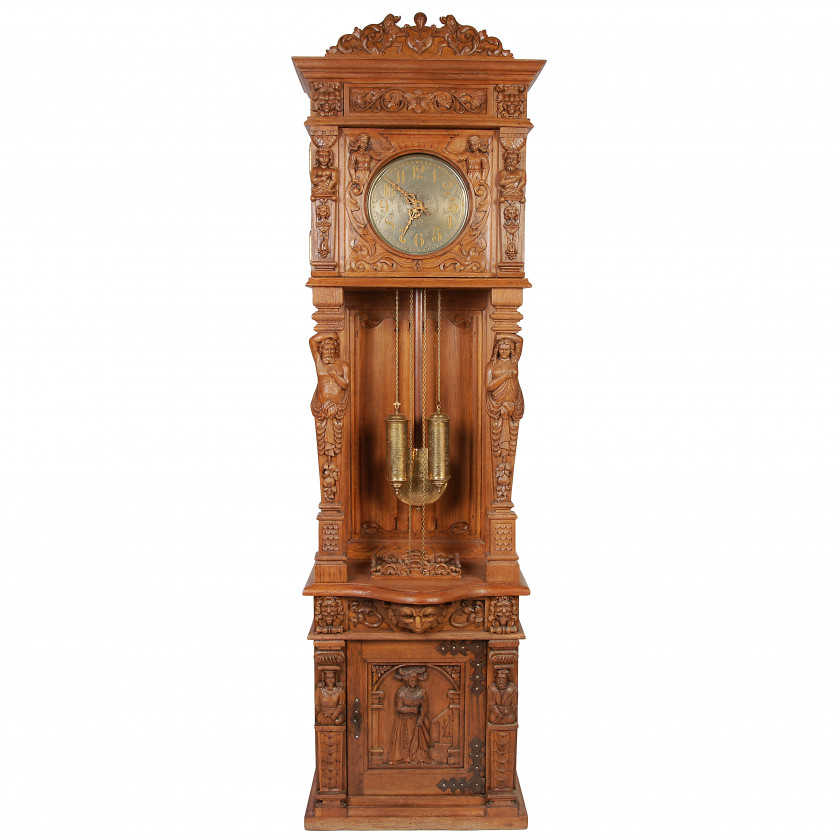 Wooden grandfather floor clock