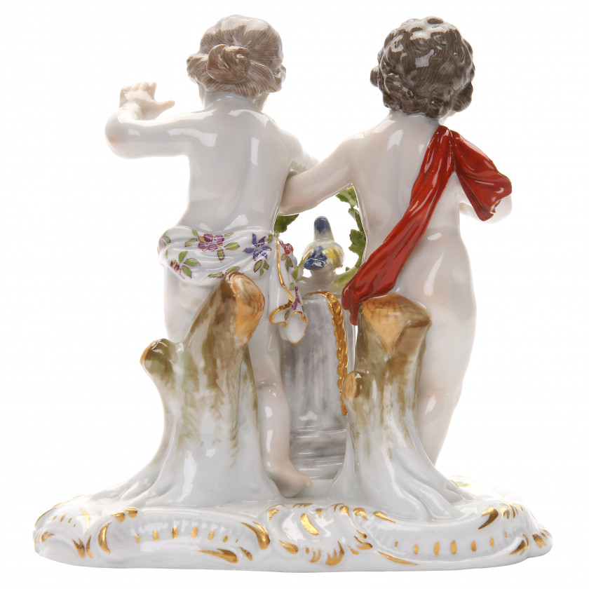 "Porcelain figure ""Two children with a column and a bird"""