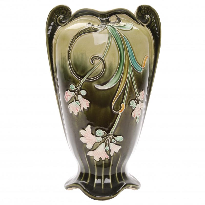 Faience vase in Art Nouveau style