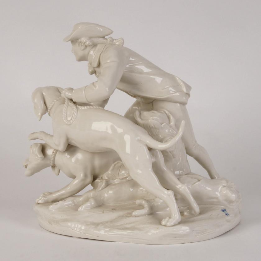 """Porcelāna kompozīcija """"Mednieks un divi medību suni"""""""