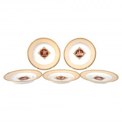 Set of five decorative plates