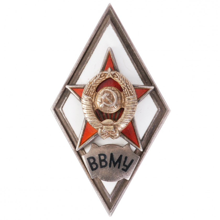 "Badge ""For graduation from the higher naval school (ВВМУ)"""