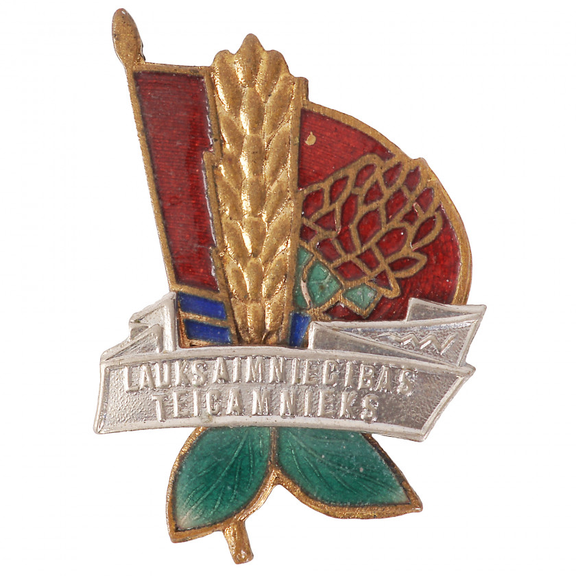 "Badge ""Excellent worker of agricultural industry of Latvian SSR"""