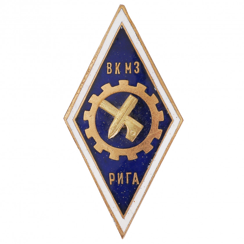 "Badge ""For finishing the all-Union courses of fashion designers - cloth cutters (ВКМЗ)"""