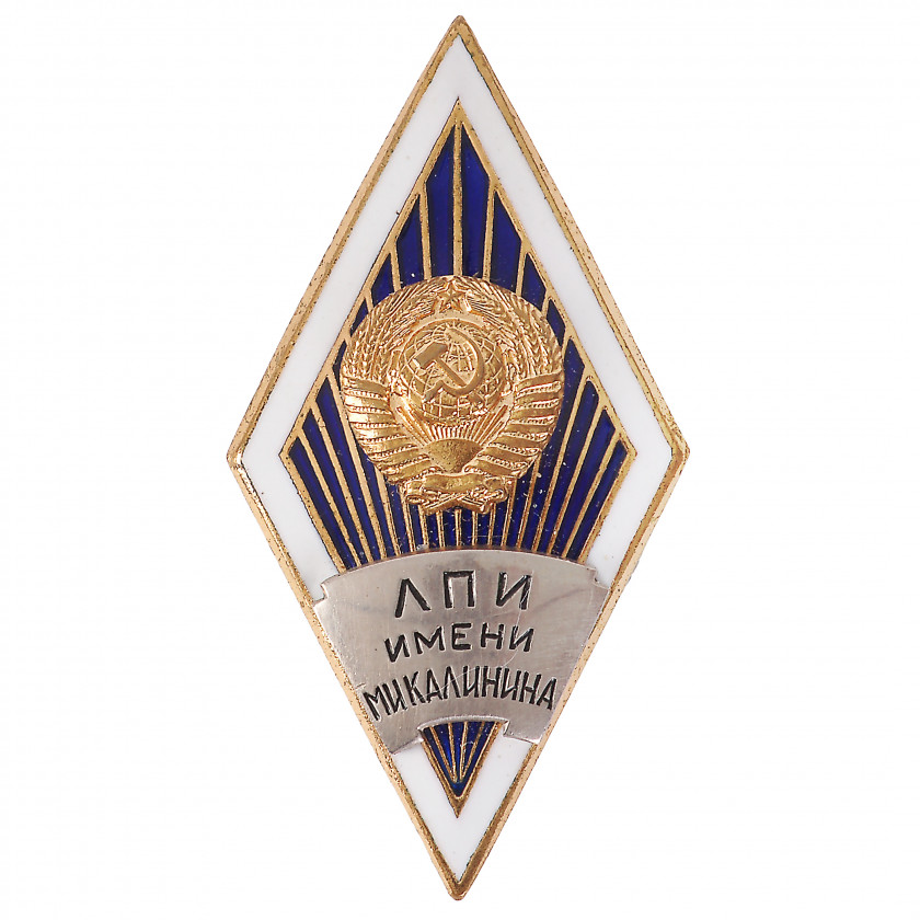 "Badge ""For graduation from the Leningrad Polytechnic Institute (ЛПИ) named after M.I. Kalinin"""