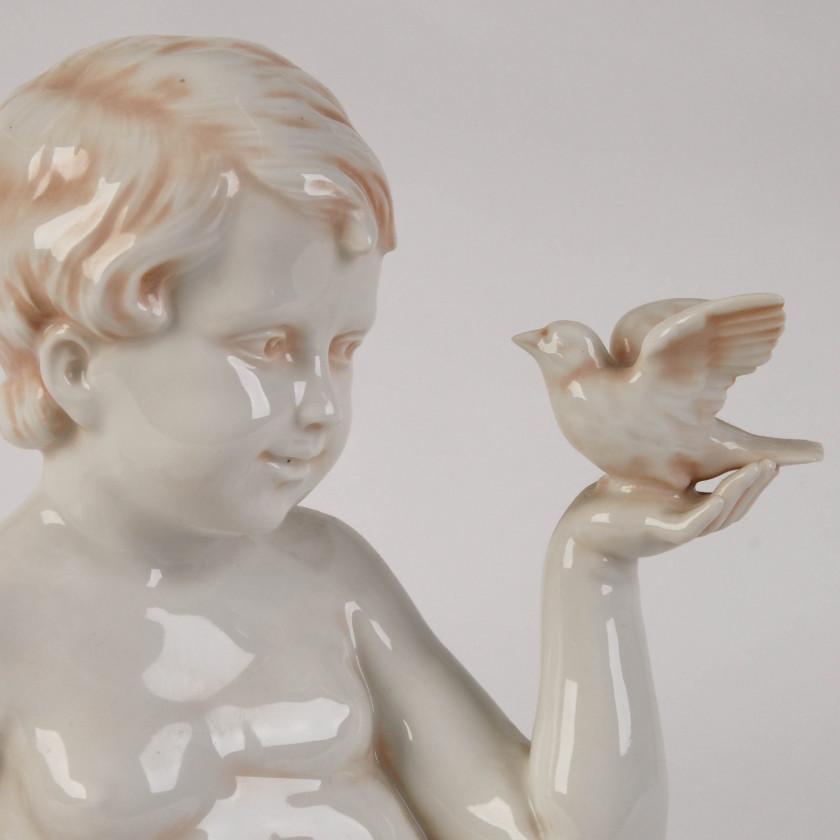 """Porcelain figure """"Boy with a dove"""""""
