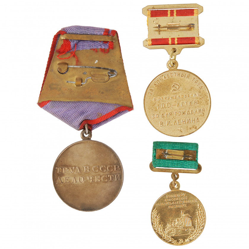"Set of awards ""For Labour Valour"", ""For participation in all-Union agricultural exhibition (ВСХВ)"", ""For Valiant Labour. Commemoration of the 100th Anniversary of the Birth of Vladimir Ilyich Lenin"""