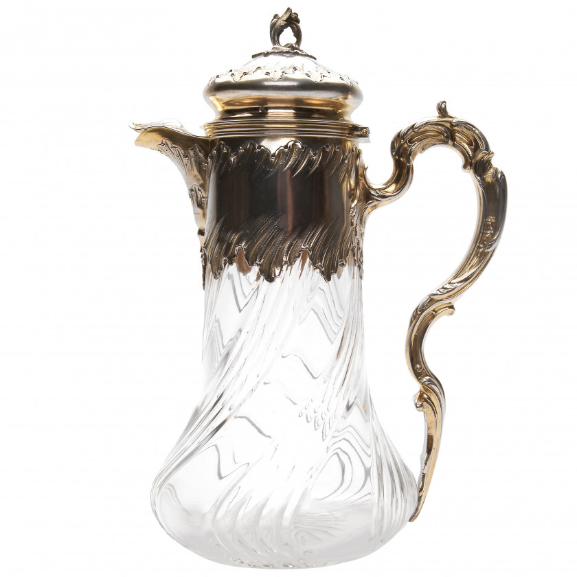 Silver-mounted glass carafe