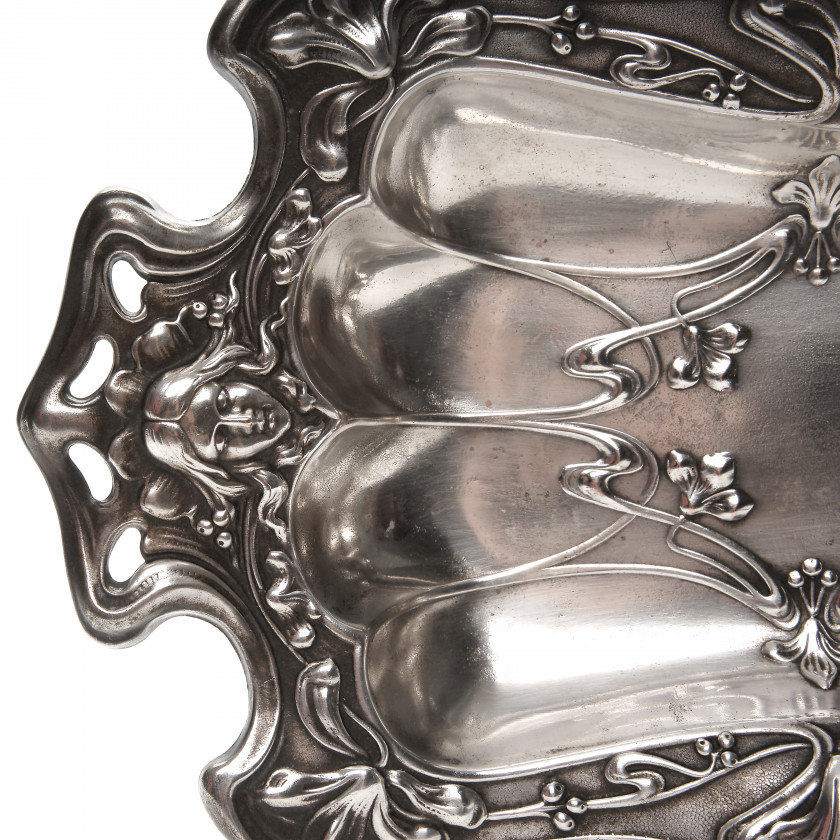 Silver plated dish in Art Nouveau style