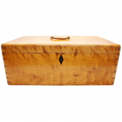 Wooden box from curly birch