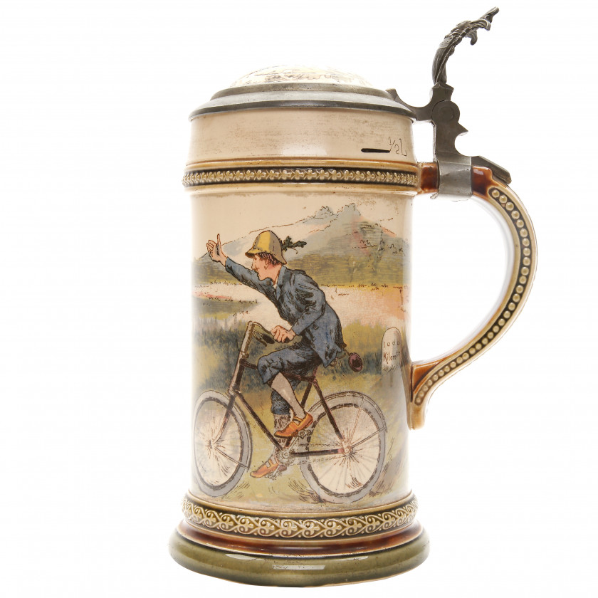 "Beer stein ""Bicycling scene"""