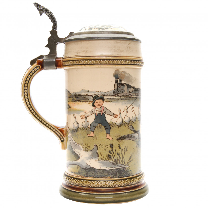 """Beer stein """"Bicycling scene"""""""