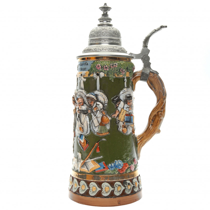 "Beer stein with musical mechanism ""Klapperstorch's musterlager"""