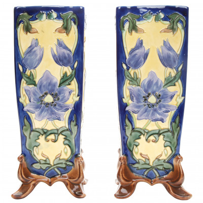 A pair of faience vases