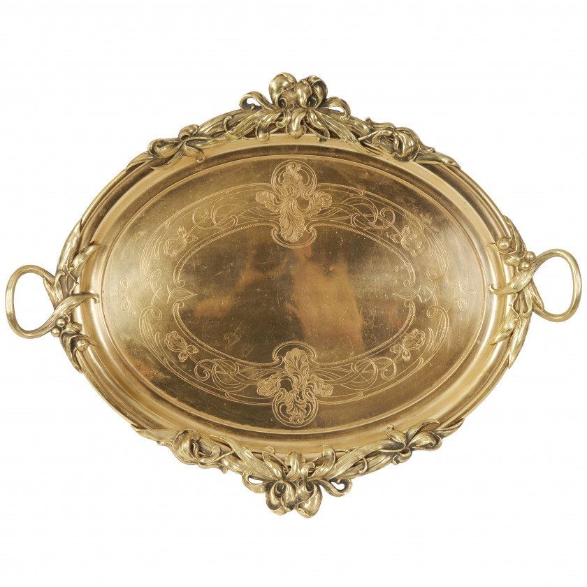 Bronze tray in Art Nouveau style